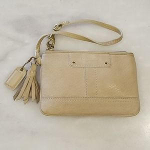 Coach Leather Wristlet with Tassel